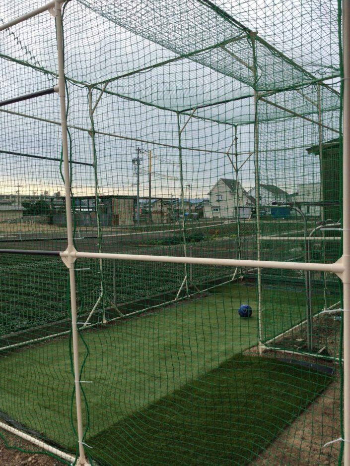 庭にバレーボール用防球ネット